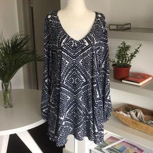 SHOW ME YOUR MUMU blue/white long sleeve dress